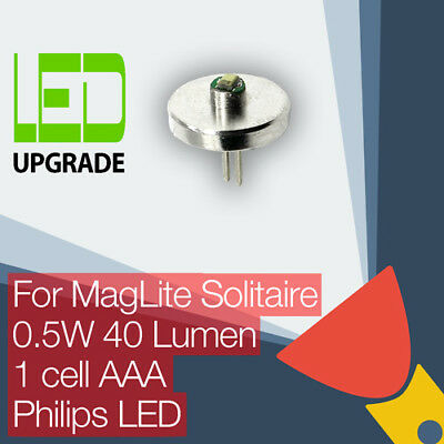MagLite Solitaire LED Conversion/upgrade Bulb Torch/flashlight 1AAA Cell Philips • 9.95£