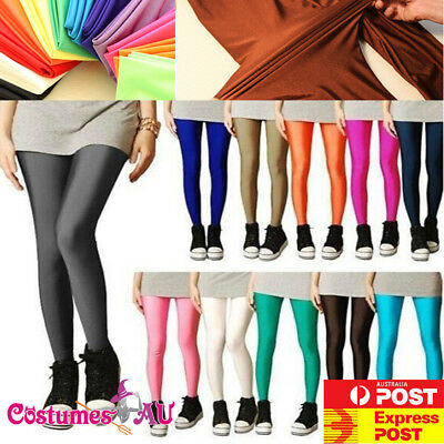 AU9.99 • Buy 80s Shiny Neon Leggings Costume 80's Stretch Fluro Pants Gym Yoga Dance Party