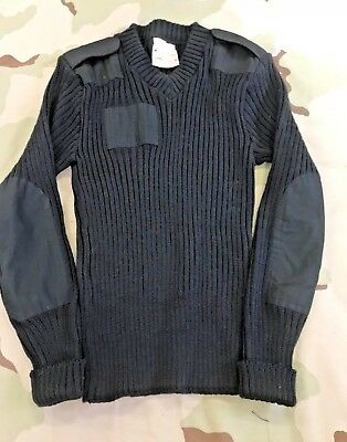 $19.95 • Buy Us Army Sweater Woolly Pully  100% Wool Black Epaulets V Neck
