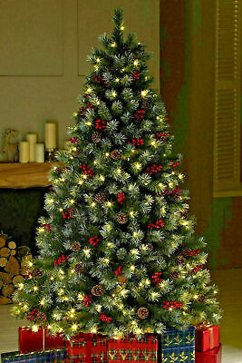 Pre Lit Frosted Christmas Tree Warm White LED Lights Berries & Cones 6ft 7ft • 79.99£