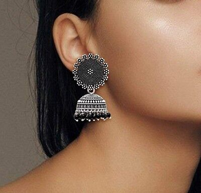 AU10.33 • Buy Indian Traditional Silver Oxidised Jhumka Jhumki Earrings For Women And Girls