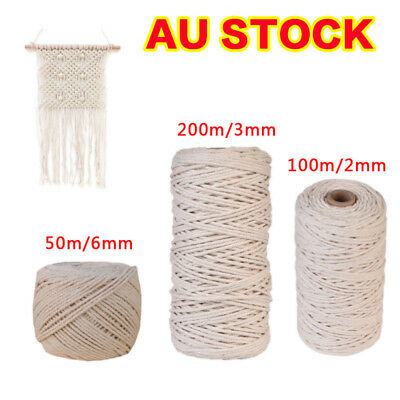 AU15.99 • Buy 2/3/4/6mm Macrame Rope Natural Beige Cotton Twisted Cord Artisan Hand Craft