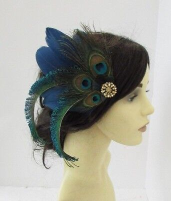 Navy Blue Green Gold Peacock Feather Fascinator Hair Clip Races 1920s 1930s 6167 • 14.95£