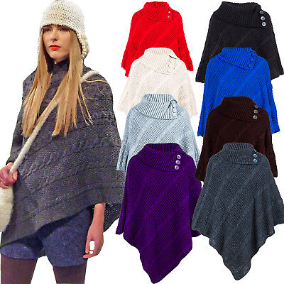 Women's Cable Knitted Poncho Winter 3 Button Ladies Wrap Shawl Jumper Sizes 8-26 • 13.99£