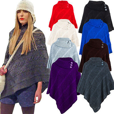 £13.99 • Buy Women's Cable Knitted Poncho Winter 3 Button Ladies Wrap Shawl Jumper Sizes 8-26