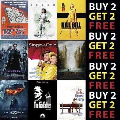 £2.99 • Buy Greatest Movie Posters Top 100 Classic Vintage Poster 300gsm Paper/Card