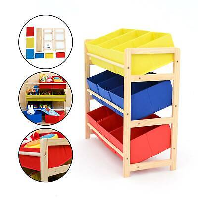 Childrens Kids 3 Tier Toy Bedroom Storage Shelf Unit & 9 Canvas Boxes Drawers • 25.59£