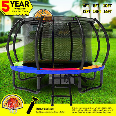 AU229.99 • Buy 15%OFF Pop Master 6/8/10/12/14/16FT Rainbow Trampoline With Basketball Hoop
