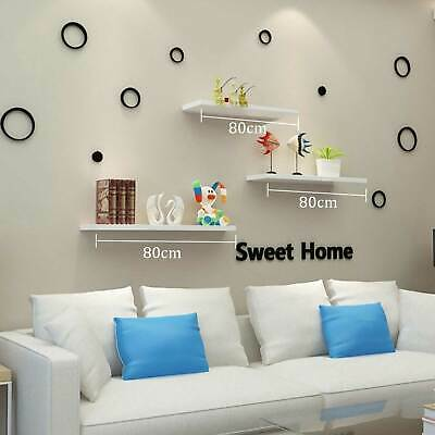 Perfect Pack Of 3 Floating Wall Shelf Wooden Shelves Wall Storage 80cm - White • 15.49£