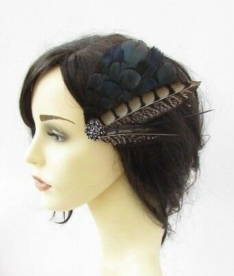Navy Blue Black Brown Pheasant Feather Fascinator Hair Clip Races Wedding 6191 • 13.95£