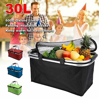 30L Extra Large Cooling Cooler Cool Bag Box Picnic Camping Food Ice Drink Lunch • 8.29£