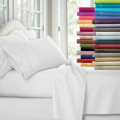 AU34.99 • Buy 1000TC Ultra Soft Flat &Fitted Bed Sheet Set(4 Pieces) Double/Queen/King Size AU