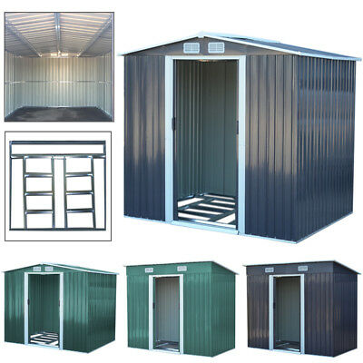 Contemporary Garden House Galvanized Metal Outdoor Shed Includes Doors Roof Base • 165.95£