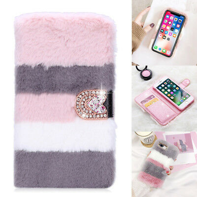 For IPhone 6 7 8 X Stylish Bling Diamond Leather Faux Fur Fluffy Flip Case Cover • 4.99£