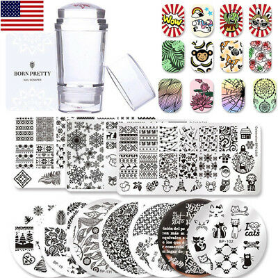 $12.60 • Buy Nail Stamping Plates  Salon Nail Art Stamp Templates Stamper Scraper Kit