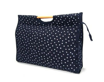 Knitting & Craft Bag Zip Close ,Pretty Blue Flower Wool Or Craft Storage 43x32cm • 14.95£
