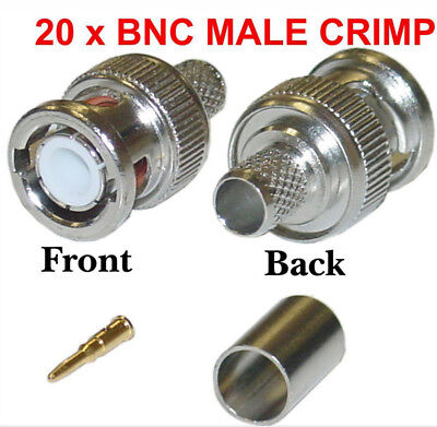 £3.98 • Buy 20 X BNC Crimp Male RG59 Connector 3 In 1 Coaxial Cable Rg59 Plug CCTV Accessory