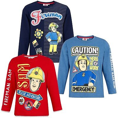 Fireman Sam Boys Character Long Sleeve Cotton Top T-Shirt Warm Jumper 1-6 Years • 8.99£
