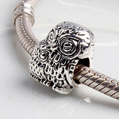 Charming Owl Family Mum Baby European Charm With Pink Gift Pouch - Silver Tone • 5.09£