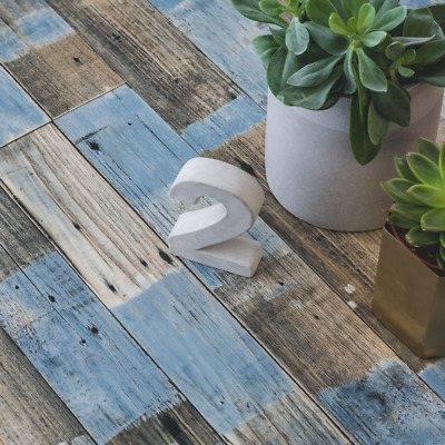 Blue Distressed Painted Wood Effect Cushioned Sheet Vinyl Flooring Lino Roll • 35.97£