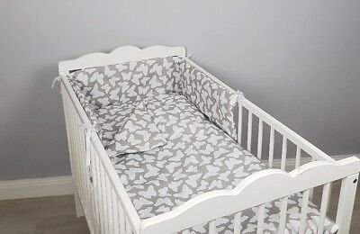 3pc Bedding Set BUMPER Padded Filled +QUILT COVERS For Cot /cot Bed BUTTERFLIES  • 18.99£