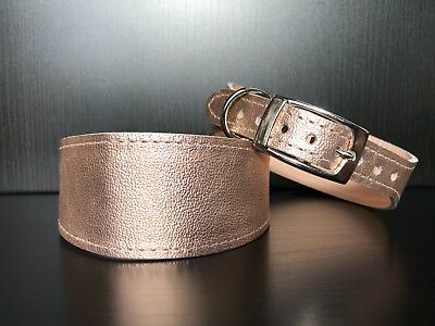 MEDIUM Leather Dog Collar LINED Greyhound Lurcher Whippet Saluki ROSE GOLD • 13.99£
