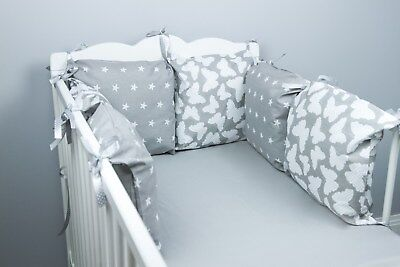 PILLOW BUMPER Made Form 6 Cushions For Cot/ Cot  Bed GREY BUTTERFLIES STARS • 23.99£