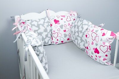 PILLOW BUMPER Made Form 6 Cushions For Cot/ Cot  Bed BUTTERFLIES PINK HEARTS • 19.99£