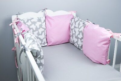 PILLOW BUMPER Made Form 6 Cushions For Cot/ Cot  Bed GREY BUTTERFLIES BABY PINK • 23.99£