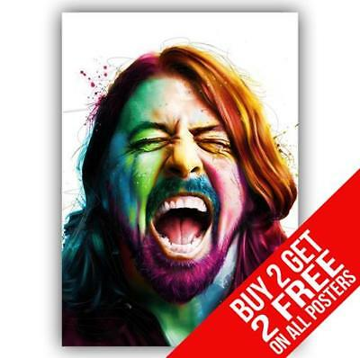 Dave Grohl Foo Fighters Poster Art Print A4 A3 Size - Buy 2 Get Any 2 Free • 8.99£