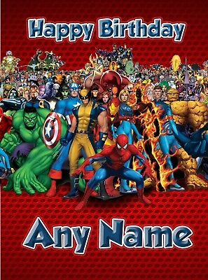 Personalised Birthday Card - Marvel Spiderman Iron Man Hulk  - Son Grandson Boy • 3.29£
