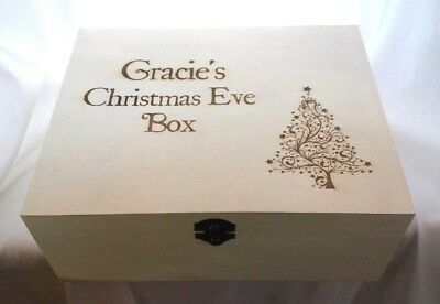 PERSONALISED CHRISTMAS EVE BOX Engraved With Any Name Wooden Wood Gift Xmas Tree • 14.99£