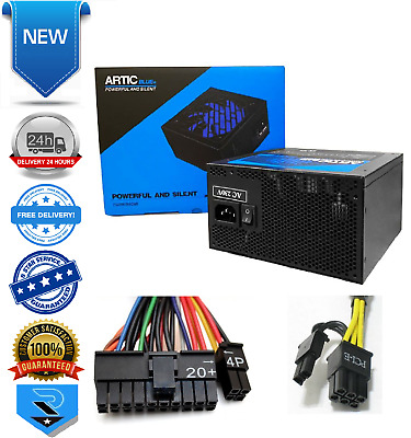 Artic Blue Quiet 750W Power Supply With 120mm Blue Fan & 8-pin PCI-E Connecter • 39.99£