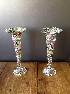 £75 • Buy Pair Of Art Deco Crown Ducal Floral Victoria Chintz Bud Vases / Candle Holders