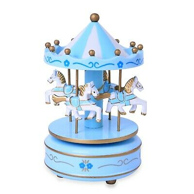 $12.99 • Buy Blue White 4 Horse Wooden Circus Carousel Musical Box Kids Decor Gifts For Dad