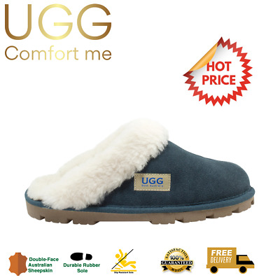 AU39 • Buy UGG Fur Trim Scuffs, CLEARANCE, Australian Sheepskin, Womens, Mens, Navy