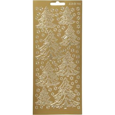 Gold Self Adhesive Christmas Tree Peel Off Stickers Sheet Card Decoration Crafts • 1£
