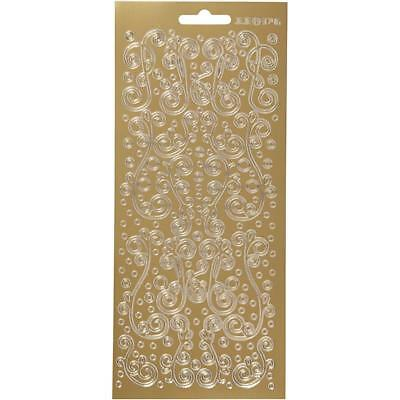 Gold Self Adhesive Swirl Peel Off Stickers Sheet Foil Card Embellishments Crafts • 1.99£