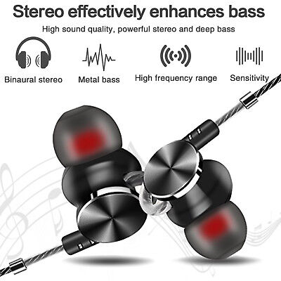 AU16.14 • Buy In-Ear Earbuds, Magnetic Wired Earphones Mic Metal Stereo Bass Noise Cancelling