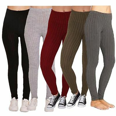 £5.99 • Buy New Womens Ladies Warm Thick Chunky Ribbed  Knitted Leggings