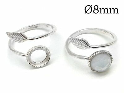 £7.34 • Buy 1pc Sterling Silver 925 Adjustable Ring, Bezel Cup 8mm Setting Ring Leaf, JBB