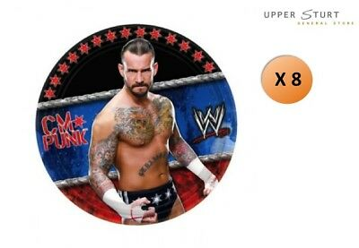 World Wrestling Small Dessert Plates 8 Pack WWE Paper Birthday Party Supplies • 4.96£