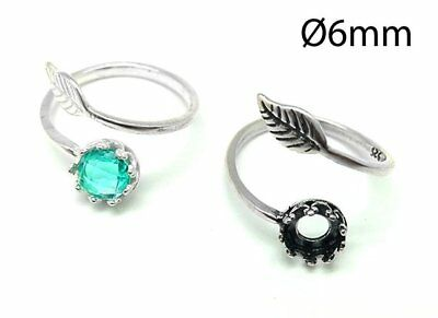 £6.11 • Buy 1pc Sterling Silver 925 Adjustable Ring 6mm, Bezel Cup Setting Ring Leaf, JBB