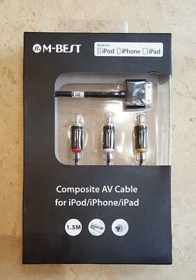 10 X Composite AV Cable To TV RCA Connection Kit IPod IPad 2/3, IPhone 4/4S 3GS • 14.99£