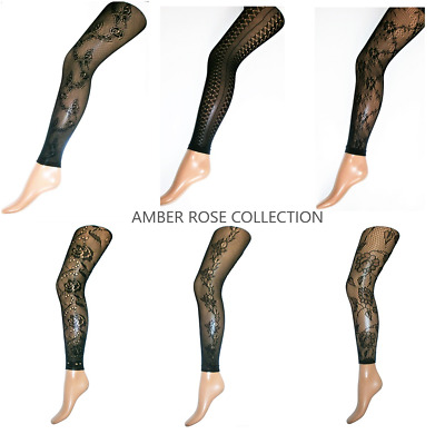 £6.95 • Buy Patterned Fishnet Floral Lace Net Full Length Fashion Footless Tights Uk Seller