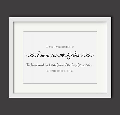 Personalised Wedding Engagement Print - Mr And Mrs - Gift / Present - Names • 3.99£