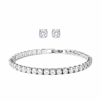 Round Cubic Zirconia CZ Stud Earrings Tennis Bracelet 7  Set Cttw 14