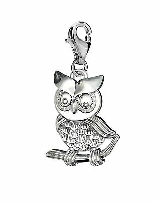 Silver Solid 925 Owl Clip On Charm Pendant For Branded Charms Bracelet  A20C • 6.75£