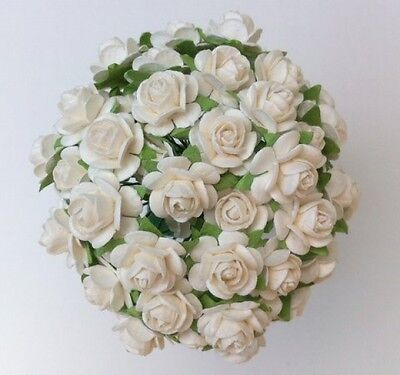 £3.80 • Buy 50 WHITE MULBERRY PAPER OPEN ROSES/FLOWERS 1cm (10mm) And 1.5cm (15mm)