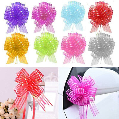 10pcs 50mm Large Organza Ribbon Pull Bows Wedding Party Decoration Gift Wrap • 0.99£